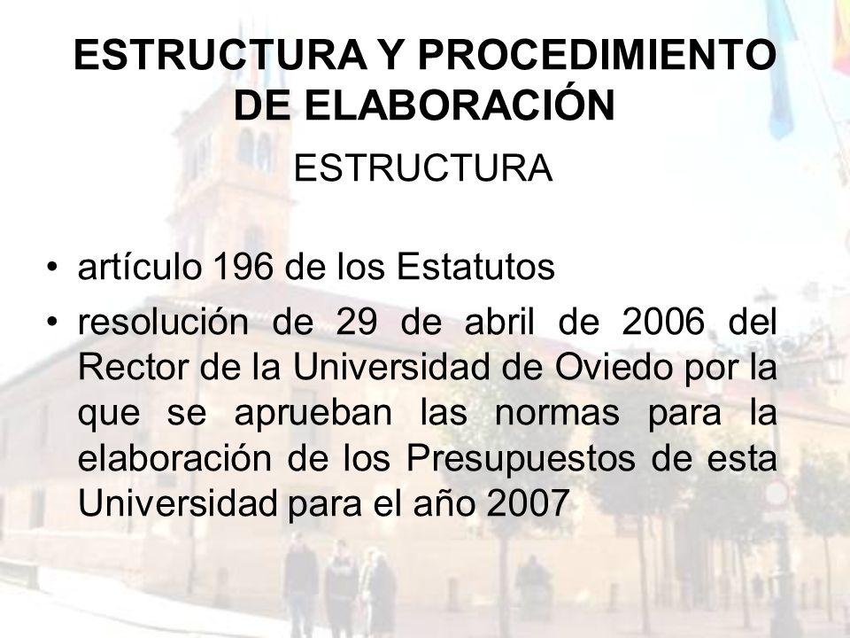 ESTRUCTURA Y PROCEDIMIENTO DE ELABORACIÓN artículo 196 de los Estatutos resolución de 29 de abril de 2006 del Rector de la Universidad de Oviedo por l