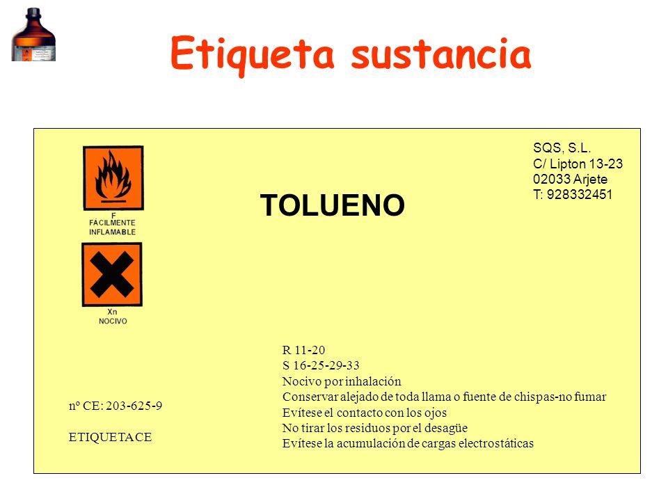 Etiqueta sustancia SQS, S.L. C/ Lipton 13-23 02033 Arjete T: 928332451 TOLUENO R 11-20 S 16-25-29-33 Nocivo por inhalación Conservar alejado de toda l