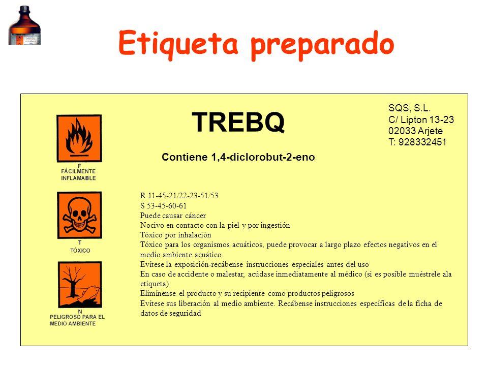 Etiqueta preparado SQS, S.L. C/ Lipton 13-23 02033 Arjete T: 928332451 TREBQ R 11-45-21/22-23-51/53 S 53-45-60-61 Puede causar cáncer Nocivo en contac