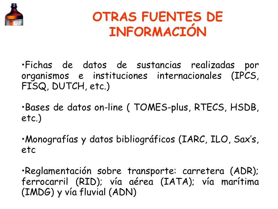 OTRAS FUENTES DE INFORMACIÓN Fichas de datos de sustancias realizadas por organismos e instituciones internacionales (IPCS, FISQ, DUTCH, etc.) Bases d