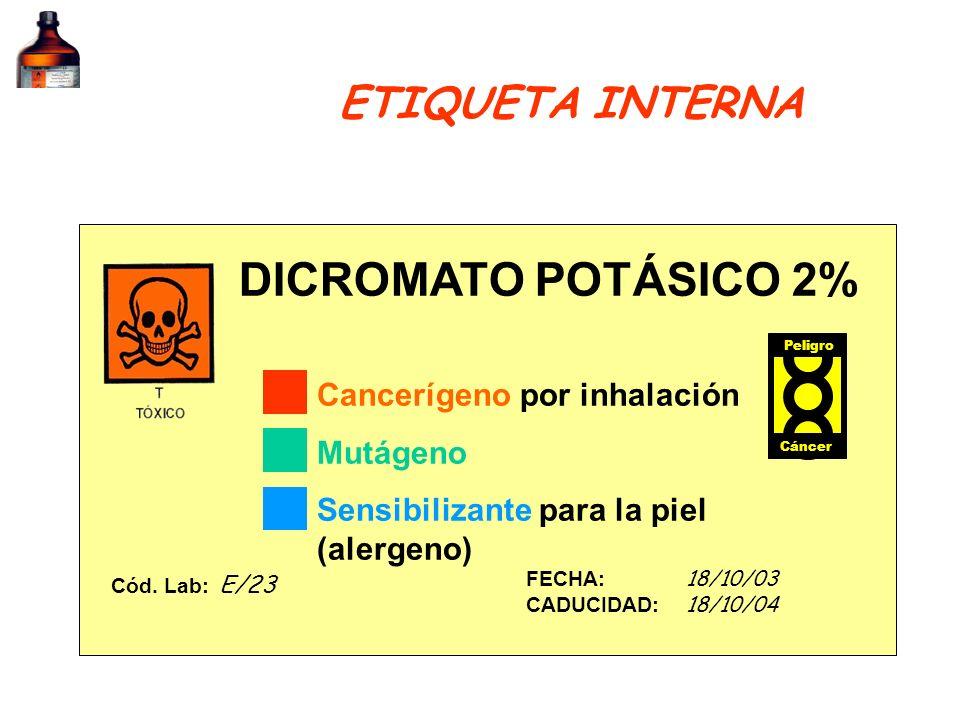 DICROMATO POTÁSICO 2% FECHA: 18/10/03 CADUCIDAD: 18/10/04 Cód. Lab: E/23 Cancerígeno por inhalación Mutágeno Sensibilizante para la piel (alergeno) Pe