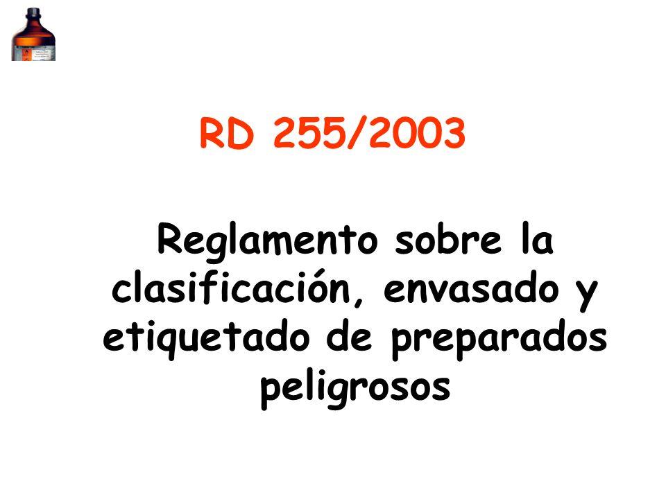 RD 255/2003 Reglamento sobre la clasificación, envasado y etiquetado de preparados peligrosos