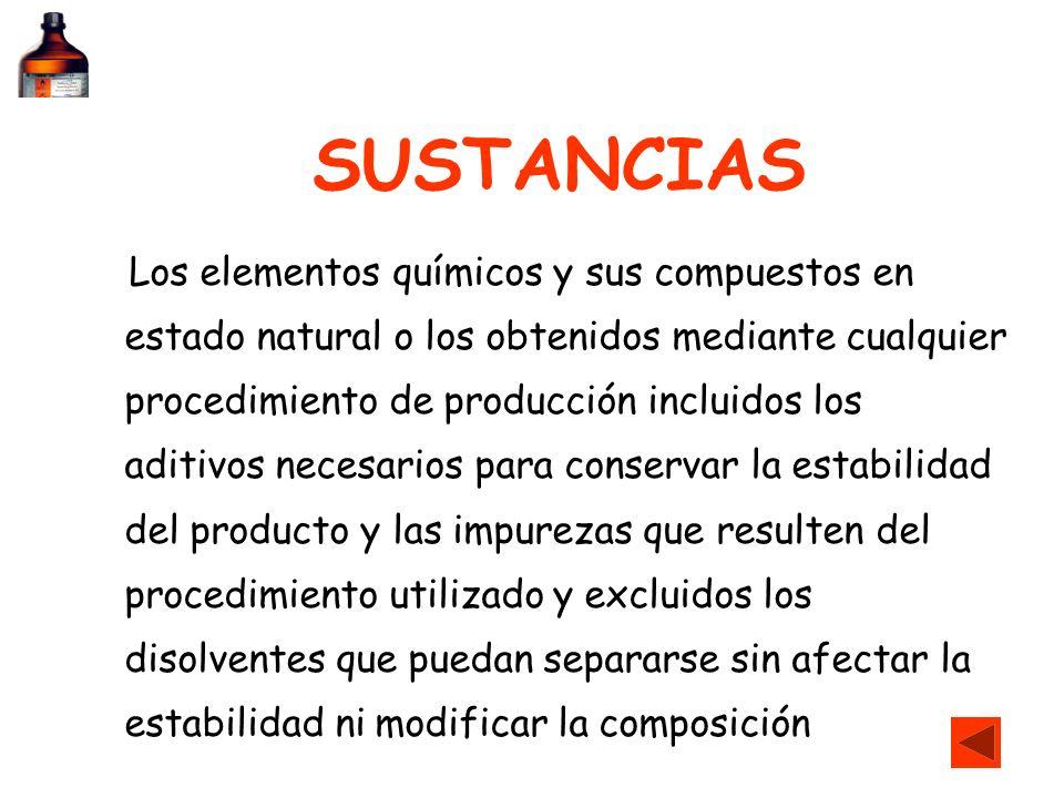 SUSTANCIAS Los elementos químicos y sus compuestos en estado natural o los obtenidos mediante cualquier procedimiento de producción incluidos los adit