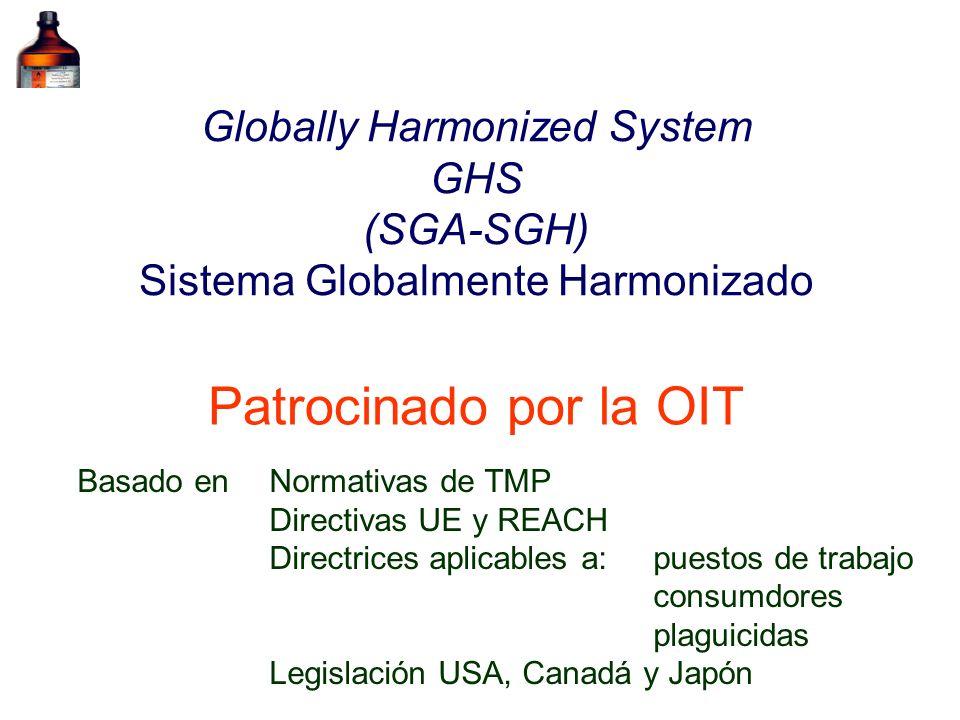 Globally Harmonized System GHS (SGA-SGH) Sistema Globalmente Harmonizado Patrocinado por la OIT Basado en Normativas de TMP Directivas UE y REACH Dire