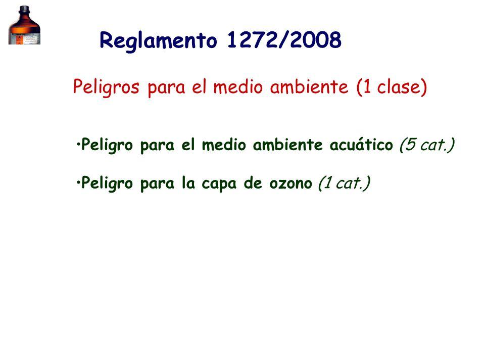 Peligros para el medio ambiente (1 clase) Peligro para el medio ambiente acuático (5 cat.) Reglamento 1272/2008 Peligro para la capa de ozono (1 cat.)