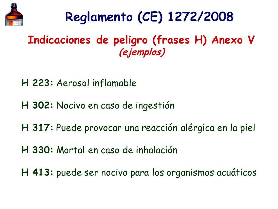 Reglamento (CE) 1272/2008 Indicaciones de peligro (frases H) Anexo V (ejemplos) H 223: Aerosol inflamable H 302: Nocivo en caso de ingestión H 317: Pu
