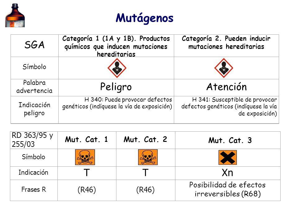 SGA Categoría 1 (1A y 1B). Productos químicos que inducen mutaciones hereditarias Categoría 2. Pueden inducir mutaciones hereditarias Símbolo Palabra