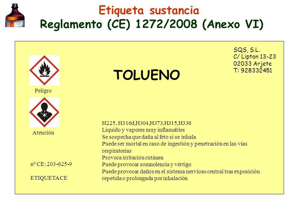 Etiqueta sustancia Reglamento (CE) 1272/2008 (Anexo VI) SQS, S.L. C/ Lipton 13-23 02033 Arjete T: 928332451 TOLUENO H225, H316d,H304,H373,H315,H336 Li