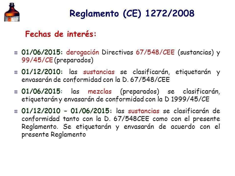 01/06/2015: derogación Directivas 67/548/CEE (sustancias) y 99/45/CE (preparados) 01/12/2010: las sustancias se clasificarán, etiquetarán y envasarán