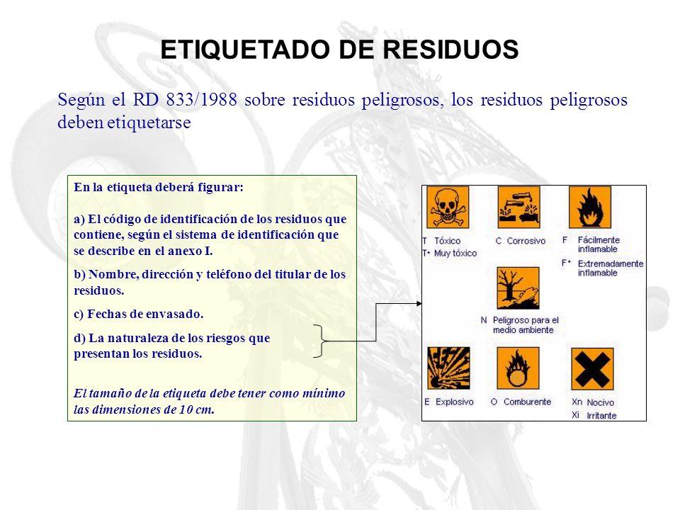 ETIQUETADO DE RESIDUOS Según el RD 833/1988 sobre residuos peligrosos, los residuos peligrosos deben etiquetarse En la etiqueta deberá figurar: a) El