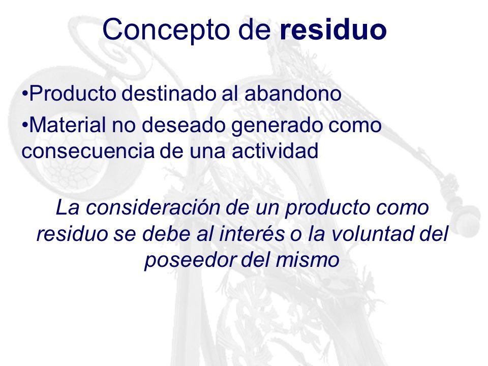 Concepto de residuo Producto destinado al abandono Material no deseado generado como consecuencia de una actividad La consideración de un producto com