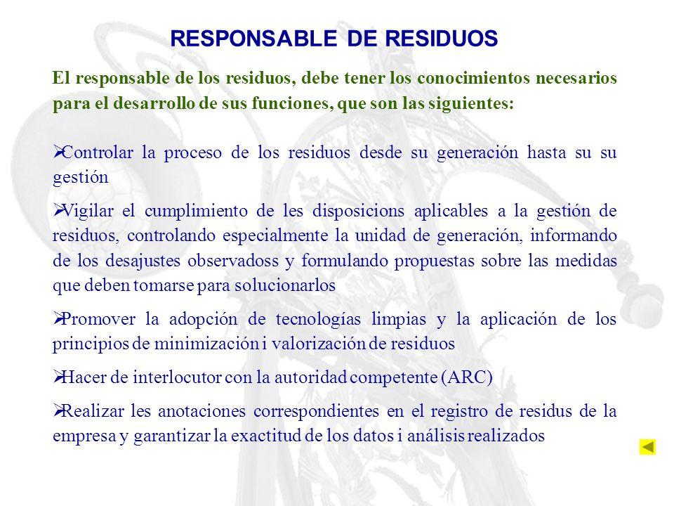 RESPONSABLE DE RESIDUOS El responsable de los residuos, debe tener los conocimientos necesarios para el desarrollo de sus funciones, que son las sigui
