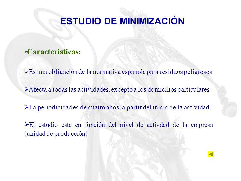 ESTUDIO DE MINIMIZACIÓN Características: Es una obligación de la normativa española para residuos peligrosos Afecta a todas las actividades, excepto a