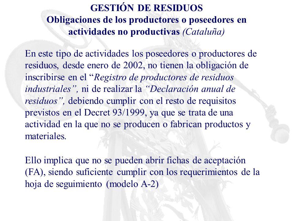 GESTIÓN DE RESIDUOS Obligaciones de los productores o poseedores en actividades no productivas (Cataluña) En este tipo de actividades los poseedores o