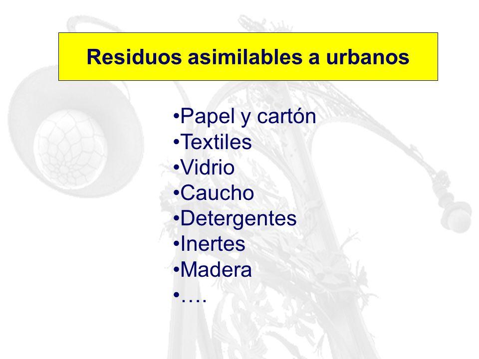 Residuos asimilables a urbanos Papel y cartón Textiles Vidrio Caucho Detergentes Inertes Madera ….