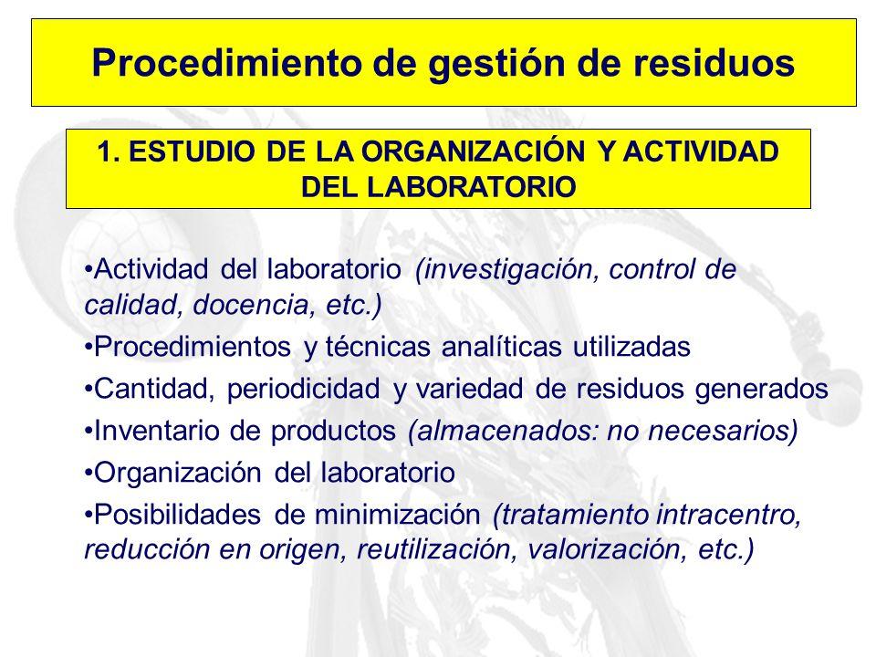 Procedimiento de gestión de residuos 1. ESTUDIO DE LA ORGANIZACIÓN Y ACTIVIDAD DEL LABORATORIO Actividad del laboratorio (investigación, control de ca