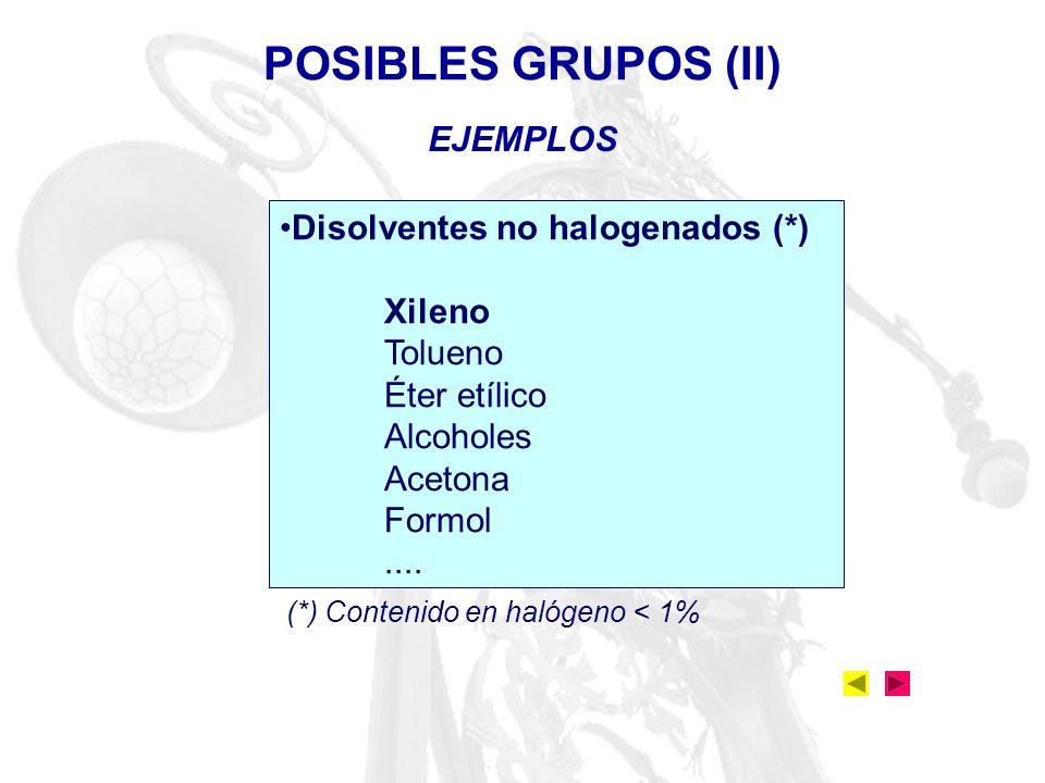EJEMPLOS POSIBLES GRUPOS (II) Disolventes no halogenados (*) Xileno Tolueno Éter etílico Alcoholes Acetona Formol.... (*) Contenido en halógeno < 1%
