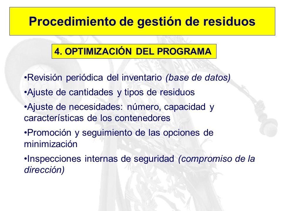 Procedimiento de gestión de residuos 4. OPTIMIZACIÓN DEL PROGRAMA Revisión periódica del inventario (base de datos) Ajuste de cantidades y tipos de re