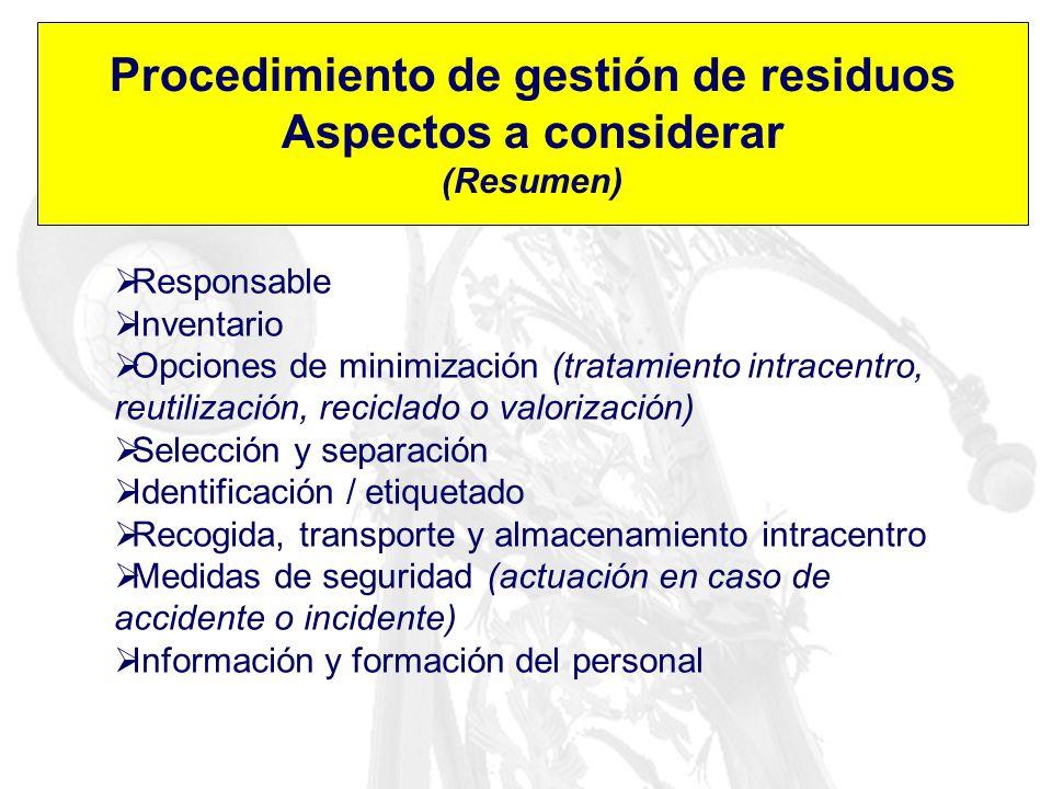 Procedimiento de gestión de residuos Aspectos a considerar (Resumen) Responsable Inventario Opciones de minimización (tratamiento intracentro, reutili