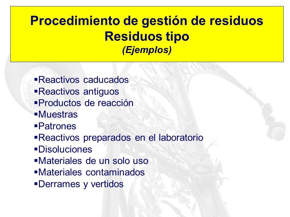 Procedimiento de gestión de residuos Residuos tipo (Ejemplos) Reactivos caducados Reactivos antiguos Productos de reacción Muestras Patrones Reactivos