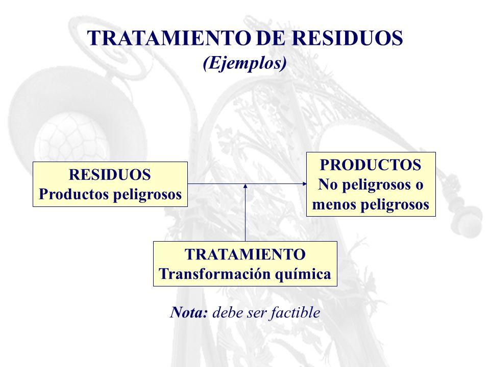 TRATAMIENTO DE RESIDUOS (Ejemplos) RESIDUOS Productos peligrosos PRODUCTOS No peligrosos o menos peligrosos TRATAMIENTO Transformación química Nota: d