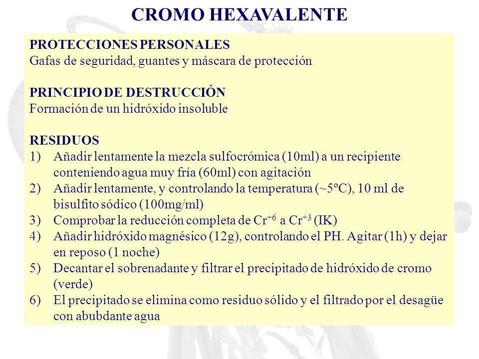 CROMO HEXAVALENTE PROTECCIONES PERSONALES Gafas de seguridad, guantes y máscara de protección PRINCIPIO DE DESTRUCCIÓN Formación de un hidróxido insol
