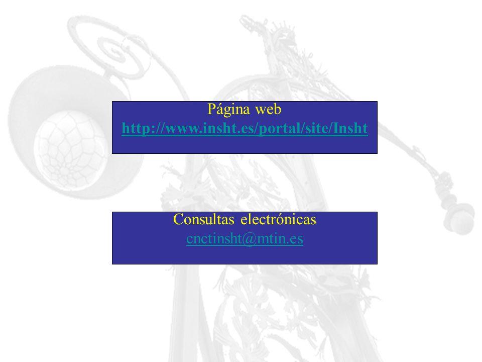 Página web http://www.insht.es/portal/site/Insht Consultas electrónicas cnctinsht@mtin.es