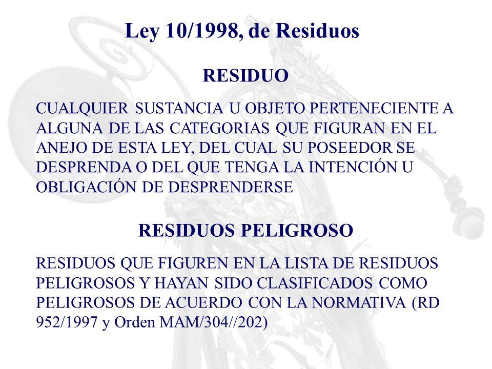 Ley 10/1998, de Residuos RESIDUO CUALQUIER SUSTANCIA U OBJETO PERTENECIENTE A ALGUNA DE LAS CATEGORIAS QUE FIGURAN EN EL ANEJO DE ESTA LEY, DEL CUAL S