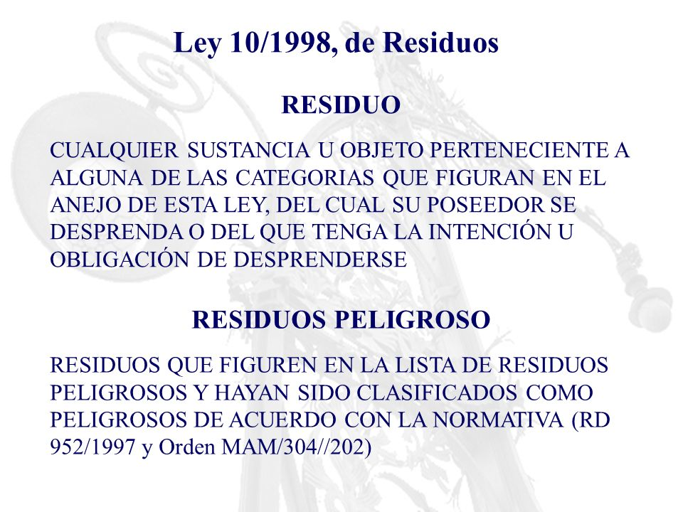 RESIDUO PELIGROSO (Orden MAM/304/2002) RESIDUO INCLUIDO EN LA LISTA DE RESIDUOS PELIGROSOS (RP) NO INCLUIDO EN LA LISTA DE RP PRESENTA UNA O MÁS CARACTERÍSTICAS DE PELIGROSIDAD H