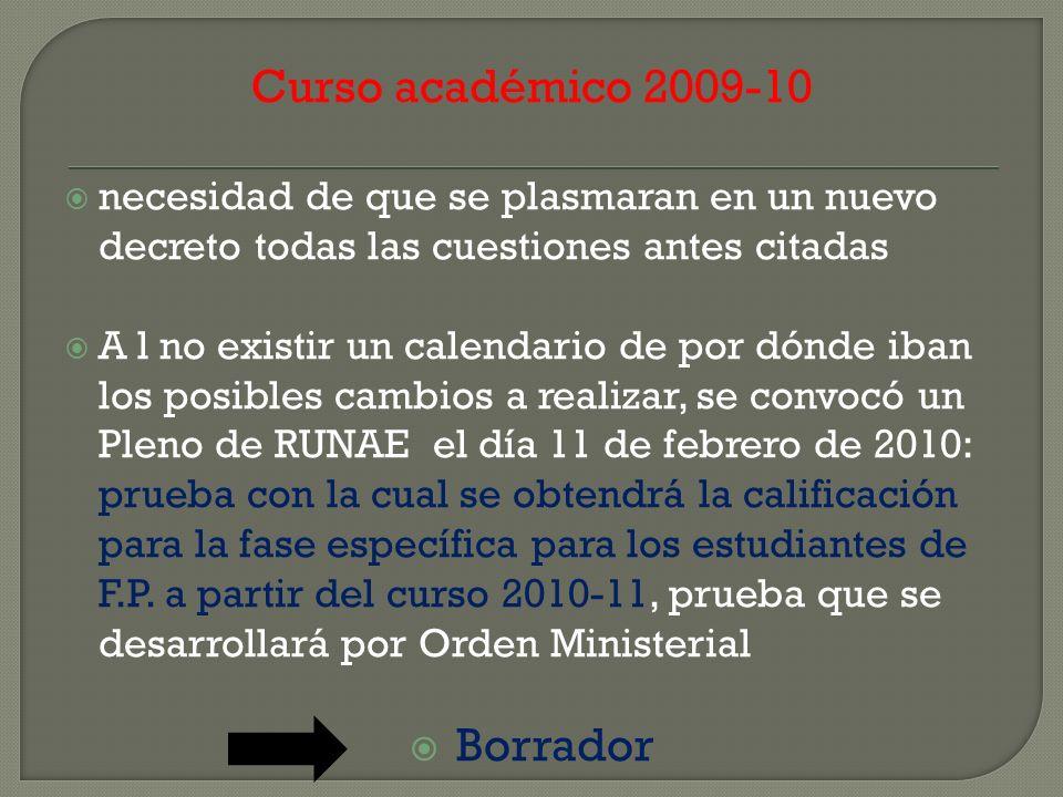 Curso académico 2009-10 necesidad de que se plasmaran en un nuevo decreto todas las cuestiones antes citadas A l no existir un calendario de por dónde