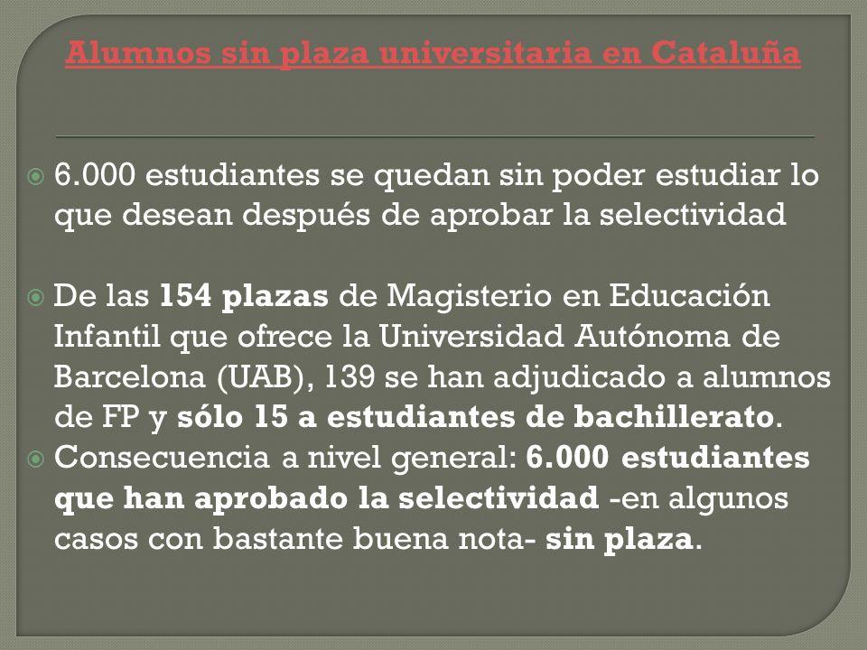 Alumnos sin plaza universitaria en Cataluña 6.000 estudiantes se quedan sin poder estudiar lo que desean después de aprobar la selectividad De las 154