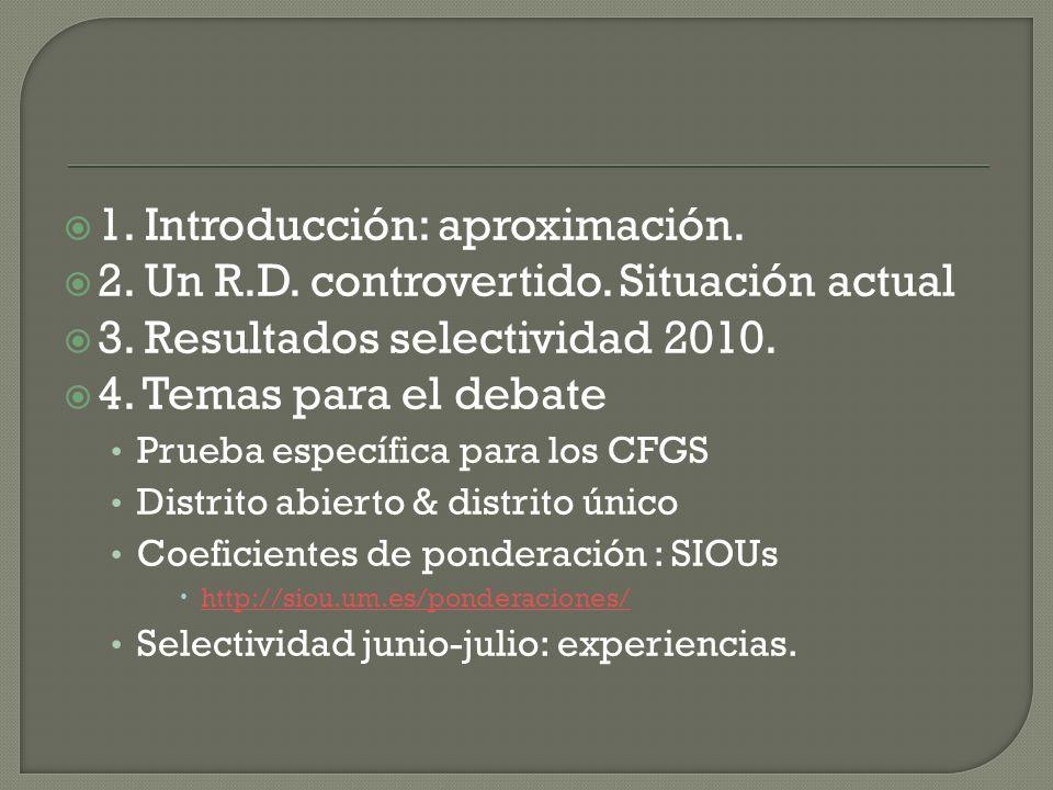 1. Introducción: aproximación. 2. Un R.D. controvertido. Situación actual 3. Resultados selectividad 2010. 4. Temas para el debate Prueba específica p