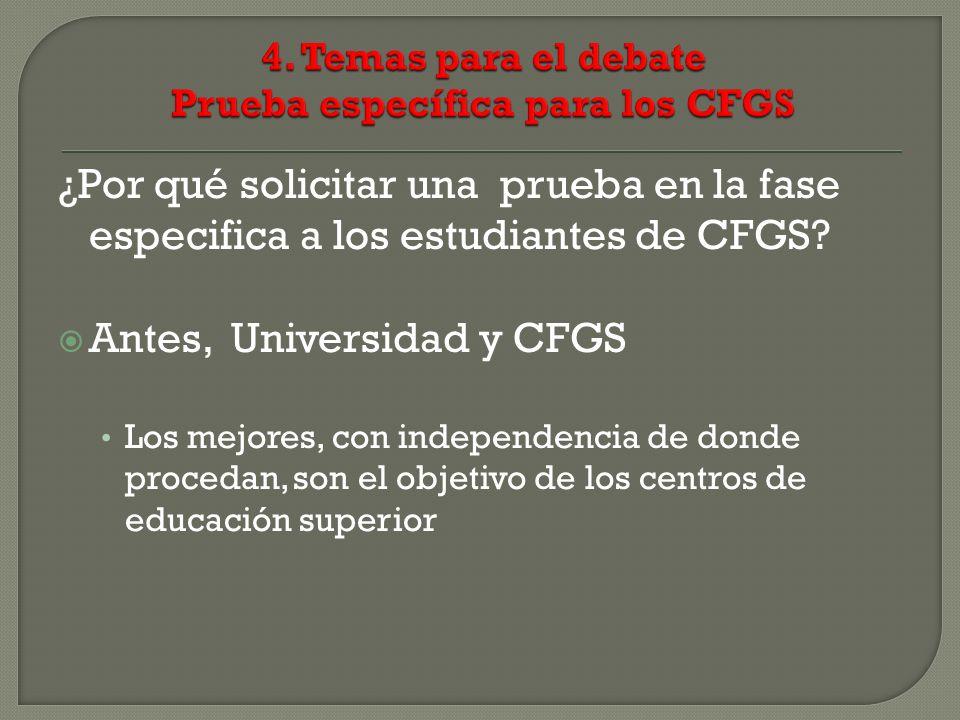 ¿Por qué solicitar una prueba en la fase especifica a los estudiantes de CFGS? Antes, Universidad y CFGS Los mejores, con independencia de donde proce