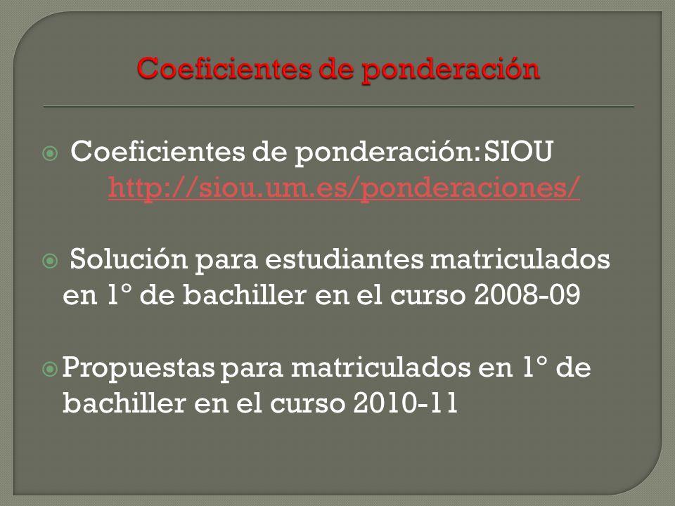 Coeficientes de ponderación: SIOU http://siou.um.es/ponderaciones/ http://siou.um.es/ponderaciones/ Solución para estudiantes matriculados en 1º de ba