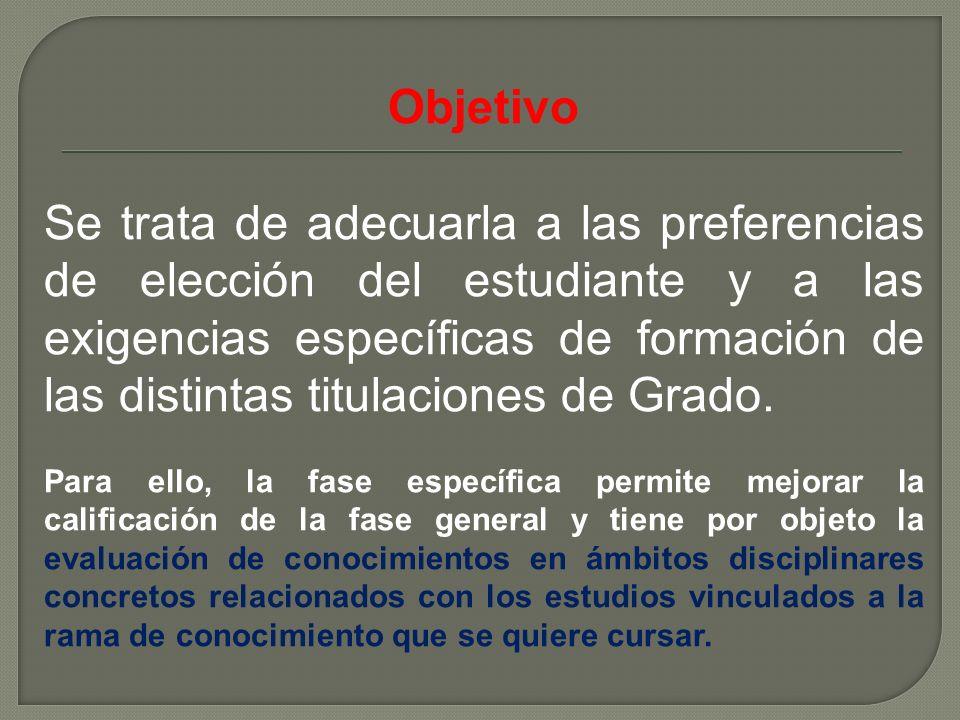 Objetivo Se trata de adecuarla a las preferencias de elección del estudiante y a las exigencias específicas de formación de las distintas titulaciones