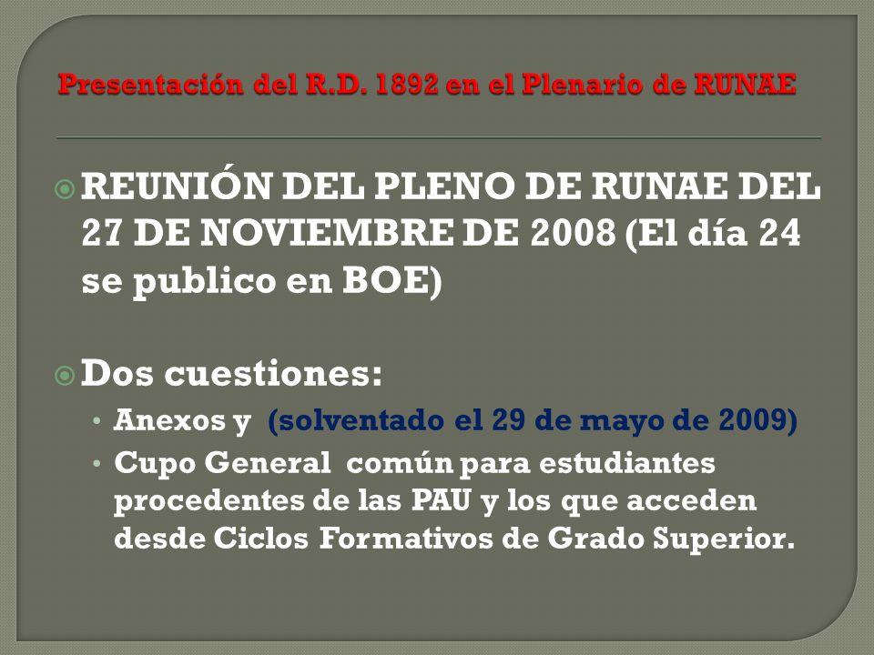 REUNIÓN DEL PLENO DE RUNAE DEL 27 DE NOVIEMBRE DE 2008 (El día 24 se publico en BOE) Dos cuestiones: Anexos y (solventado el 29 de mayo de 2009) Cupo