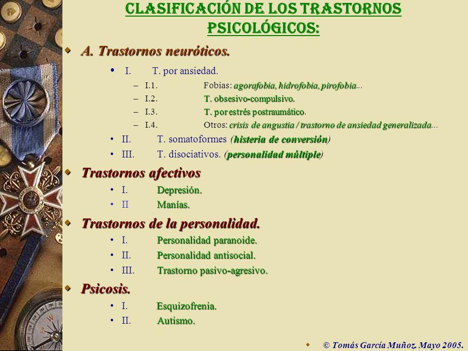 CLASIFICACIÓN DE LOS TRASTORNOS PSICOLÓGICOS: A.A.