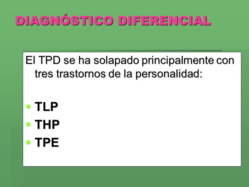 DIAGNÓSTICO DIFERENCIAL El TPD se ha solapado principalmente con tres trastornos de la personalidad: TLP TLP THP THP TPE TPE