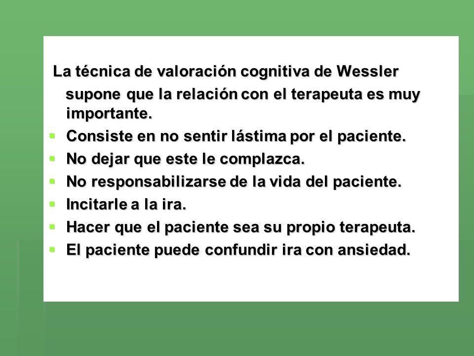 La técnica de valoración cognitiva de Wessler La técnica de valoración cognitiva de Wessler supone que la relación con el terapeuta es muy importante.