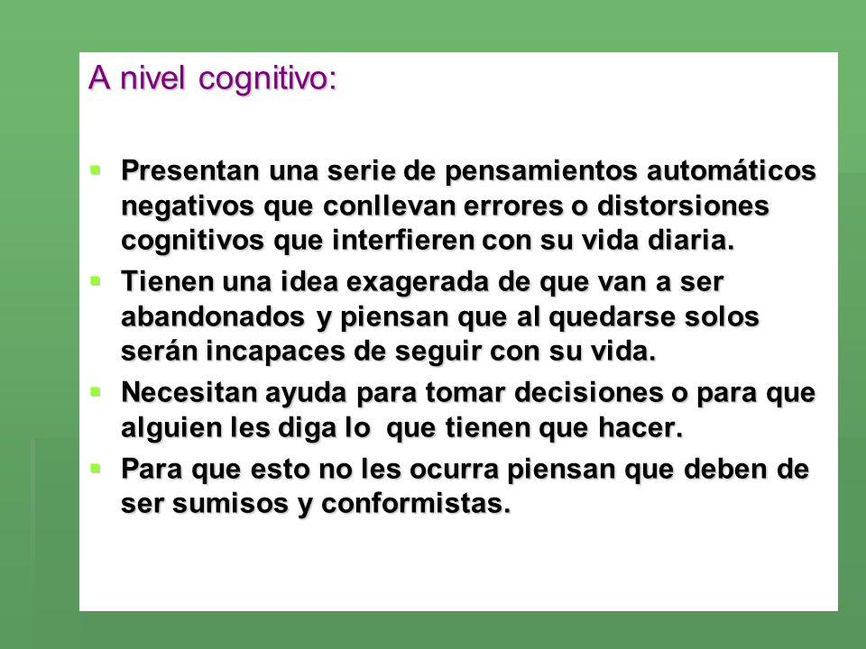 A nivel cognitivo: Presentan una serie de pensamientos automáticos negativos que conllevan errores o distorsiones cognitivos que interfieren con su vi