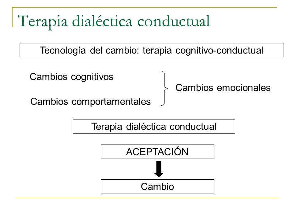 Terapia dialéctica conductual Tecnología del cambio: terapia cognitivo-conductual Cambios cognitivos Cambios comportamentales Cambios emocionales Tera