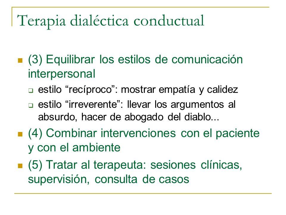 Terapia dialéctica conductual (3) Equilibrar los estilos de comunicación interpersonal estilo recíproco: mostrar empatía y calidez estilo irreverente:
