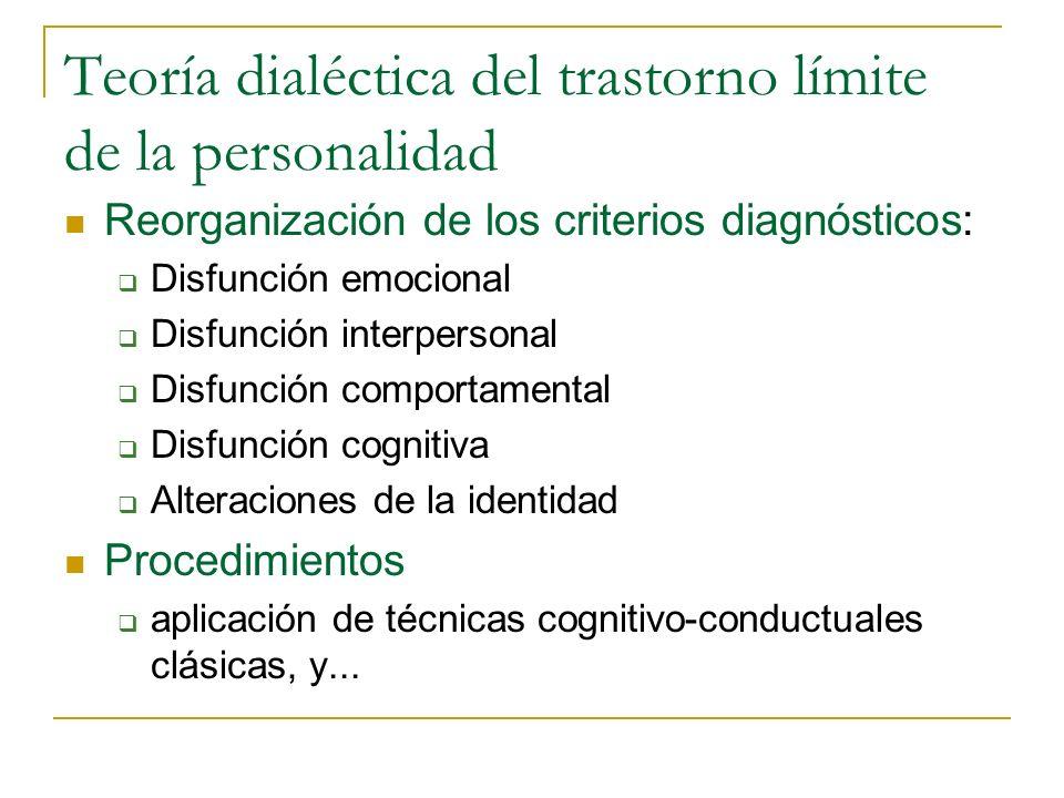 Teoría dialéctica del trastorno límite de la personalidad Reorganización de los criterios diagnósticos: Disfunción emocional Disfunción interpersonal