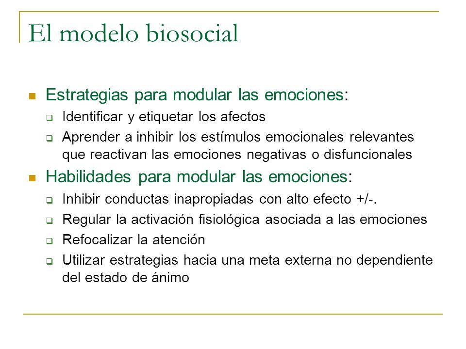 El modelo biosocial Estrategias para modular las emociones: Identificar y etiquetar los afectos Aprender a inhibir los estímulos emocionales relevante