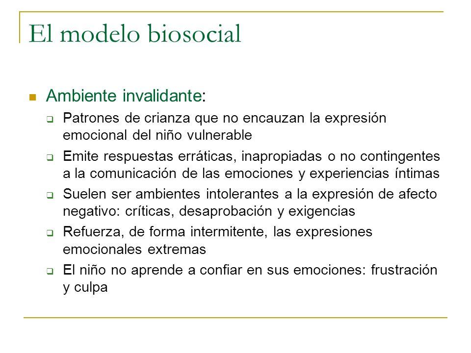 El modelo biosocial Ambiente invalidante: Patrones de crianza que no encauzan la expresión emocional del niño vulnerable Emite respuestas erráticas, i