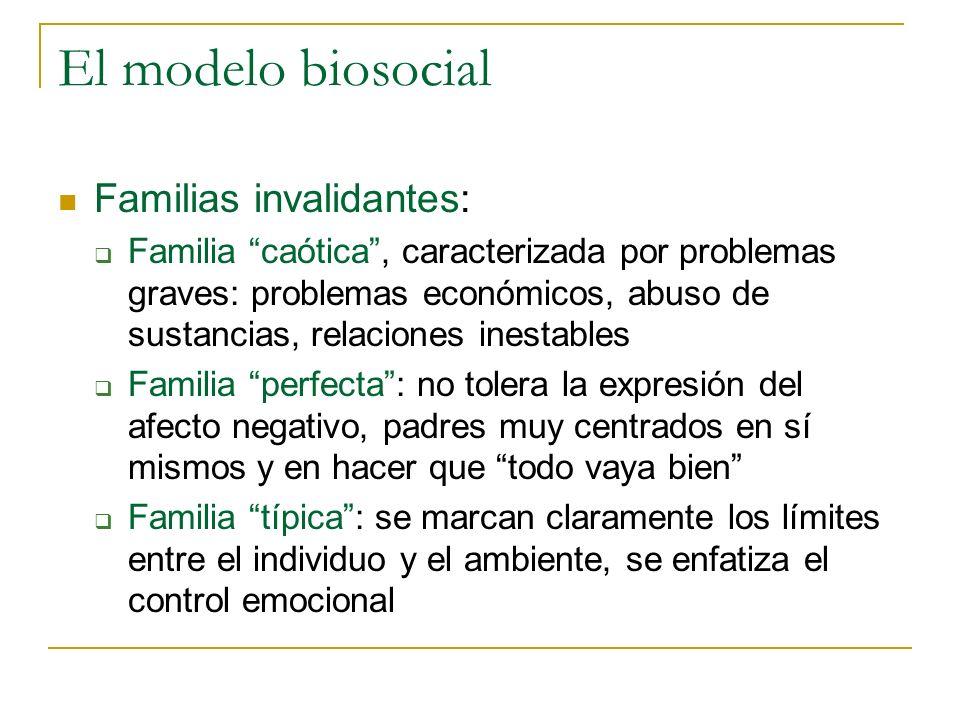 El modelo biosocial Familias invalidantes: Familia caótica, caracterizada por problemas graves: problemas económicos, abuso de sustancias, relaciones