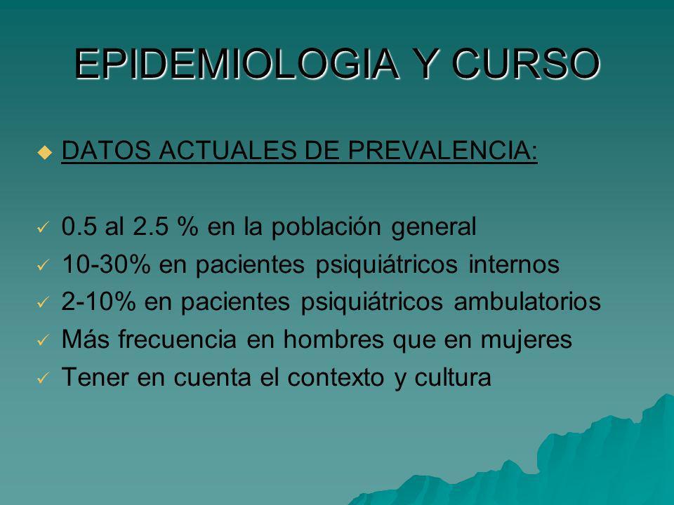 EPIDEMIOLOGIA Y CURSO DATOS ACTUALES DE PREVALENCIA: 0.5 al 2.5 % en la población general 10-30% en pacientes psiquiátricos internos 2-10% en paciente