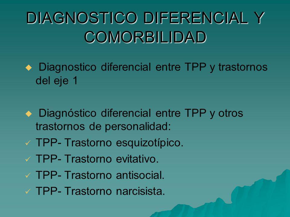 DIAGNOSTICO DIFERENCIAL Y COMORBILIDAD Diagnostico diferencial entre TPP y trastornos del eje 1 Diagnóstico diferencial entre TPP y otros trastornos d