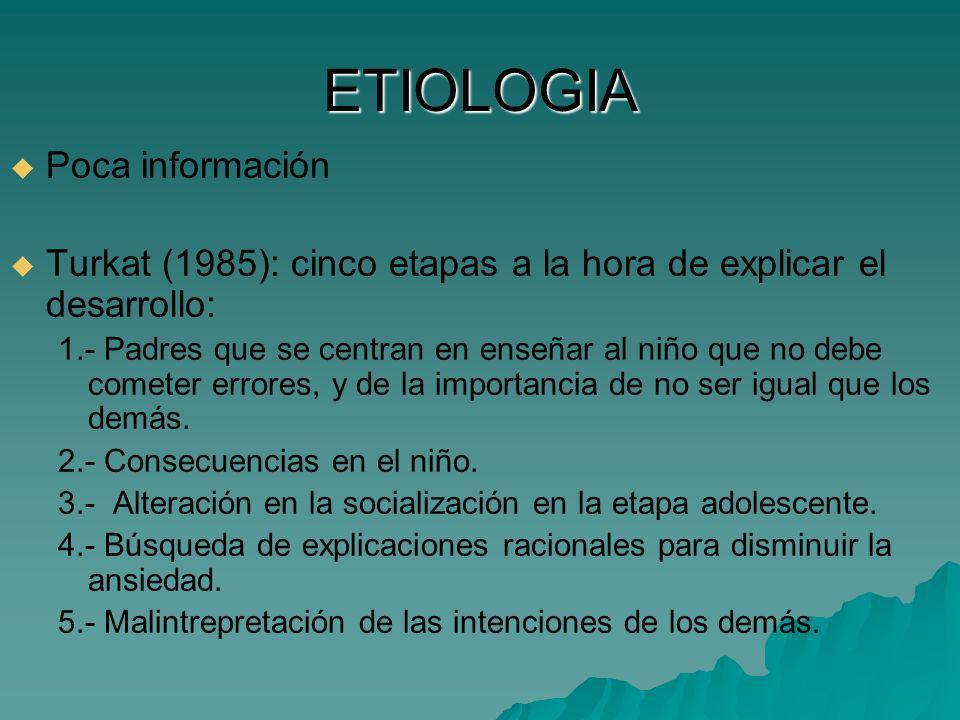 ETIOLOGIA Poca información Turkat (1985): cinco etapas a la hora de explicar el desarrollo: 1.- Padres que se centran en enseñar al niño que no debe c