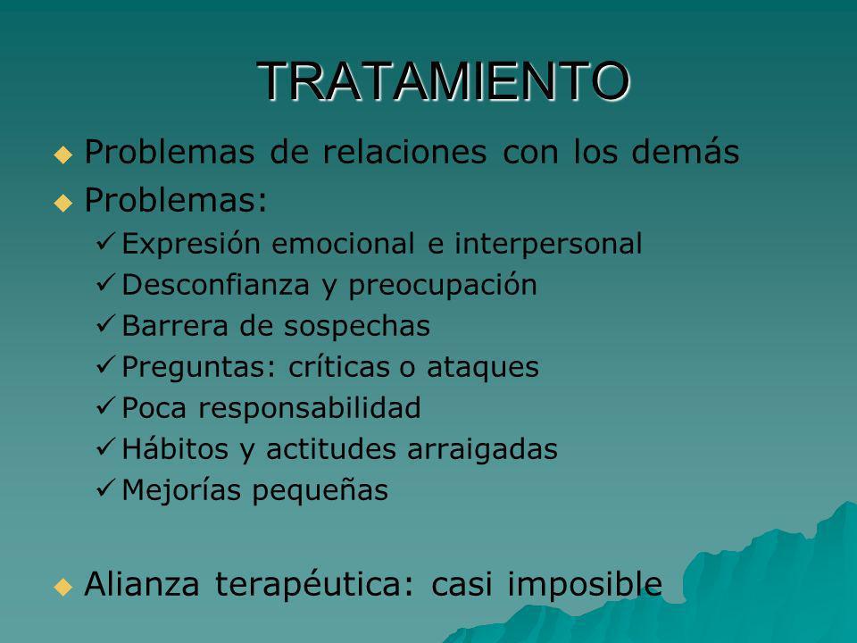TRATAMIENTO TRATAMIENTO Problemas de relaciones con los demás Problemas: Expresión emocional e interpersonal Desconfianza y preocupación Barrera de so